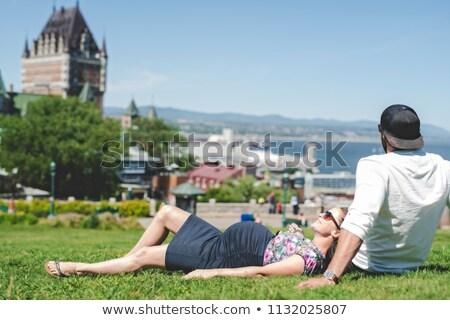 Foto stock: Pregnant Couple Portrait Outside In Quebec City
