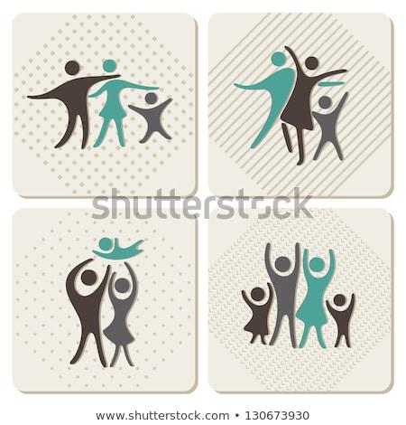 Gelukkig gezin kleurrijk vector icon cartoon stijl Stockfoto © robuart
