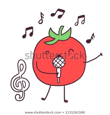 Foto stock: Música · realizar · vector · cantando · damas