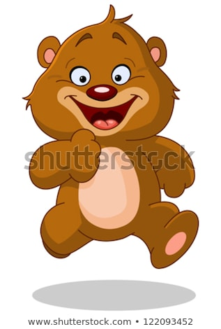 smiling brown bear cartoon character running stock photo © hittoon