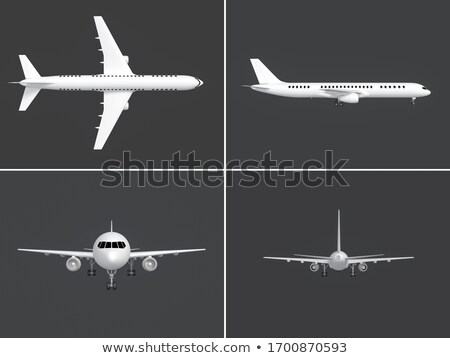 Stock photo: Wing with turbine isolated on dark background