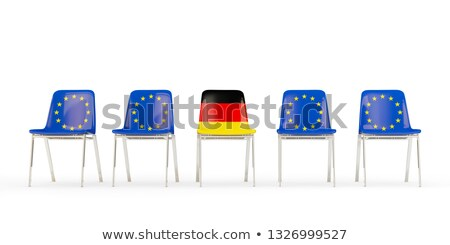 Row of chairs with flag of EU and germany Stock photo © MikhailMishchenko