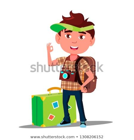 Küçük gezgin erkek bavul kapak kafa Stok fotoğraf © pikepicture