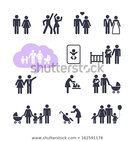 Pár szeretet család babakocsi izolált vektor Stock fotó © robuart