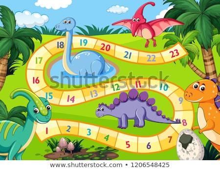 Dinozorlar sahne örnek doğa arka plan sanat Stok fotoğraf © colematt