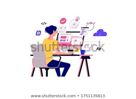 female blogger   flat design style vector illustration stock photo © decorwithme