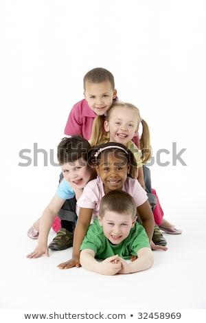grupo · cinco · jovem · crianças · estúdio · feliz - foto stock © lopolo