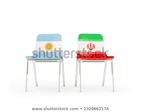 Two chairs with flags of Argentina and iran Stock photo © MikhailMishchenko