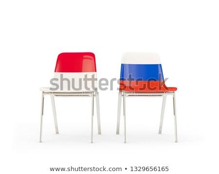 Dwa krzesła flagi Indonezja Rosja odizolowany Zdjęcia stock © MikhailMishchenko