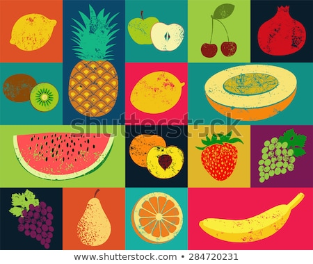 Dinnye ananász plakátok szöveg minta szelet Stock fotó © robuart