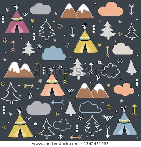 Wild & Free Teepees Trees Cloud pattern stock photo © lemony