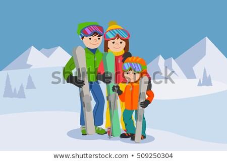 jongen · meisje · skiën · kind · kunst · winter - stockfoto © robuart