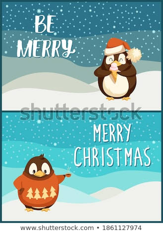 Merry Christmas Penguin Wearing Sweater with Pine Stock photo © robuart