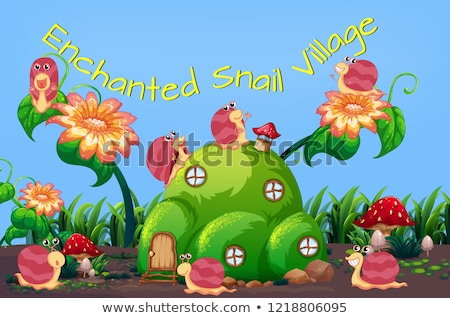 Enchanted snail village template Stock photo © colematt