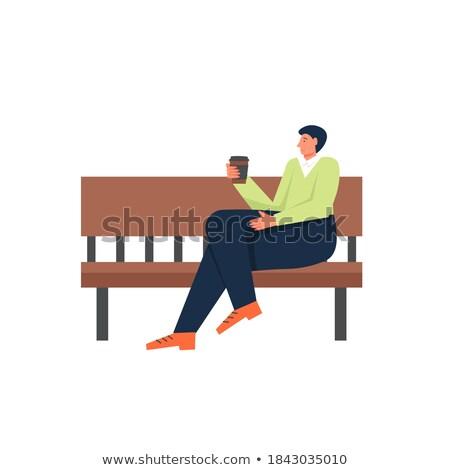 Jongen vergadering bank alleen park cartoon Stockfoto © robuart