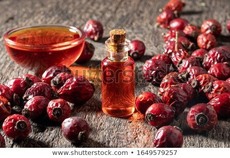 A bottle of rosehip seed oil with dried rosehips Stock photo © madeleine_steinbach