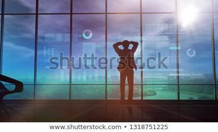 Férfi sziluett tőzsde animáció ablak üveg Stock fotó © ConceptCafe
