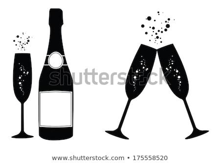 Flasche Champagner Glas weiß isoliert Essen Stock foto © OleksandrO