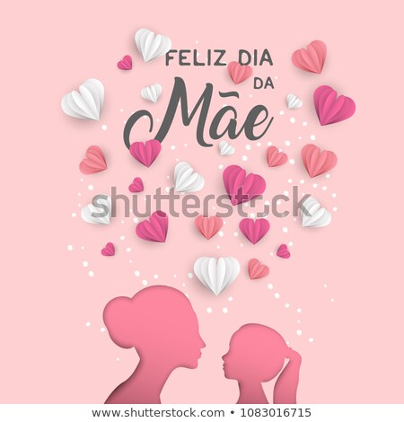 Portuguese Mothers Day card of cutout mom and kid Stock photo © cienpies