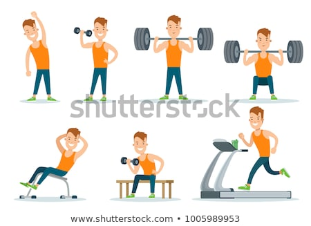 Fitness Web, Stretching and Pumping Men Vector Stock photo © robuart