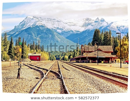 Trein track wild west illustratie hemel Stockfoto © bluering