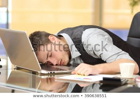 Kimerült üzletember alszik asztal számítógép iroda Stock fotó © AndreyPopov