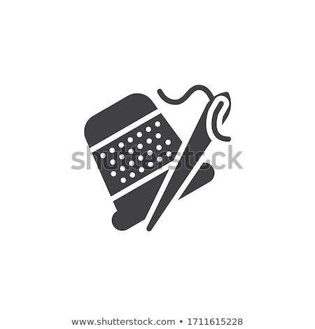 Kleermaker vingerhoed icon cirkel stencil ontwerp Stockfoto © angelp