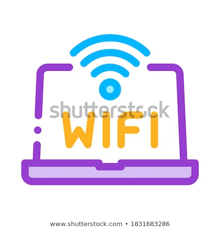 Wifi teken woord laptop display vector Stockfoto © pikepicture