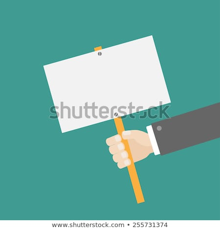 Kéz ököl tart üres tábla plakát rajz Stock fotó © Krisdog