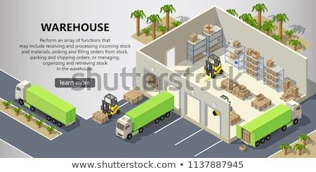 Сток-фото: вектора · изометрический · склад · интерьер · коробки