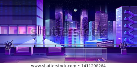 urban terrace with bench skyscraper view vector stock photo © robuart