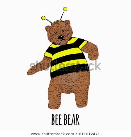 Cute bear costume bee cartoon hand drawn style Stock photo © amaomam