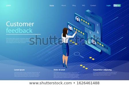 Izometrikus online ügyfélszolgálat mobil ügyfélszolgálat női Stock fotó © -TAlex-