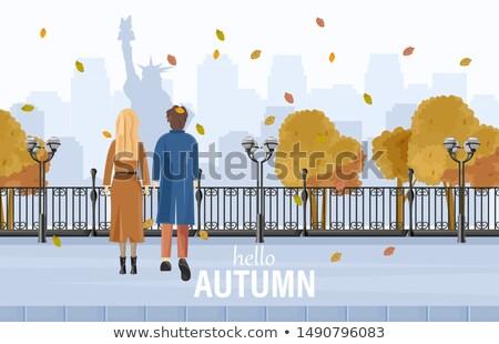 Paar lopen New York najaar vector stijl Stockfoto © frimufilms