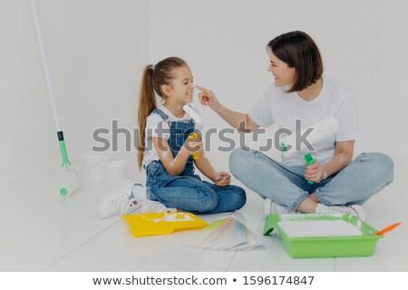 Pozitív barátságos anya lánygyermek egyéb fehér Stock fotó © vkstudio