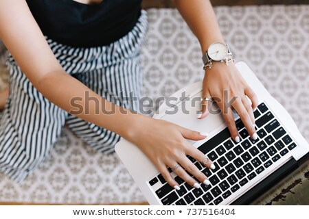 Fiatal női programozós laptop kezek monokróm Stock fotó © ElenaBatkova