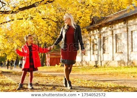 Fiatal anya kicsi lánygyermek ősz park Stock fotó © ElenaBatkova