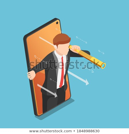 3d businessman coming out of smartphone Stock photo © 3dmask