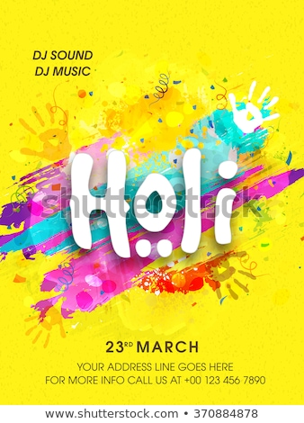 Happy Holi festival poster design with colorful background Stock photo © bluering