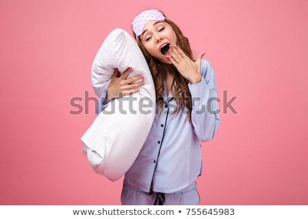 Сток-фото: Happy Young Sleepy Woman In Pajama Yawning