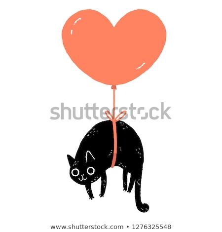 Валентин формы сердца шаре кошки болван характер Сток-фото © Zsuskaa