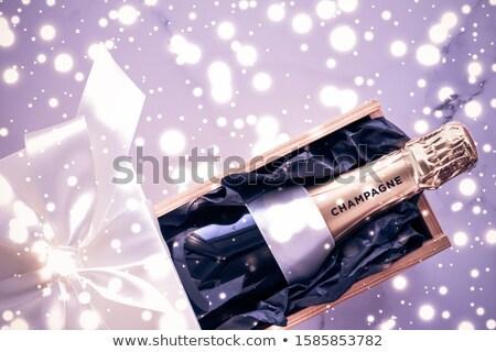 шампанского бутылку шкатулке Purple праздник блеск Сток-фото © Anneleven