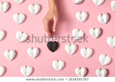Valentijnsdag kaart patroon witte gips harten Stockfoto © artjazz