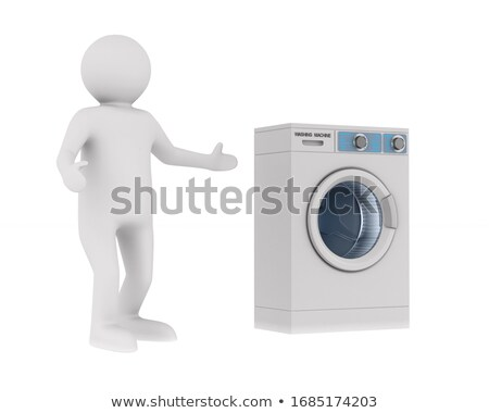 manager and washing machine on white background. Isolated 3d ill Stock photo © ISerg