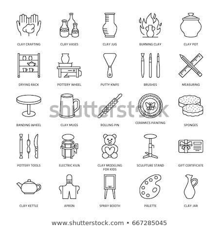Elektromos cserépedények kerék ikon vektor skicc Stock fotó © pikepicture
