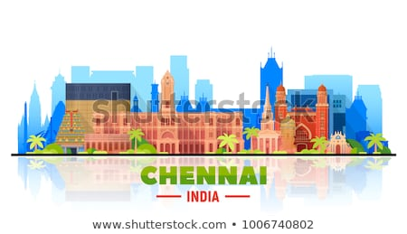 Chennai City skyline black and white silhouette.  Stock photo © ShustrikS