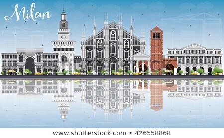 Milan linha do horizonte cinza blue sky reflexões Foto stock © ShustrikS