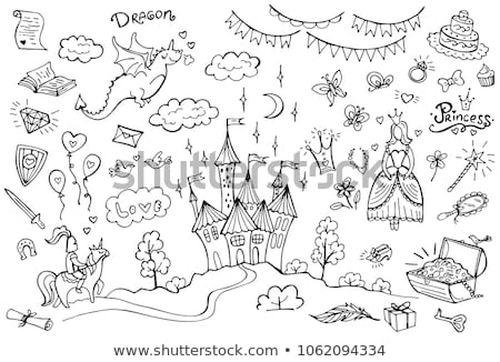 Fairytale set with dragon and princess on white background Stock photo © bluering