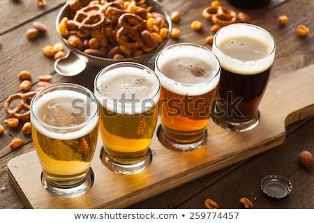 Piwo jasne pełne piwa szkła piana biały tle Zdjęcia stock © limpido