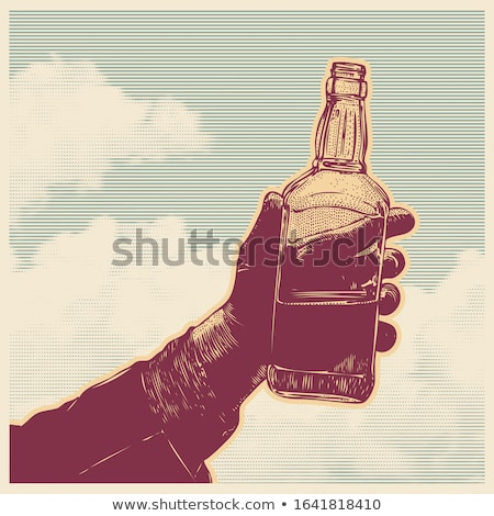 hand holding bottle liquor isolated design Stock photo © yupiramos